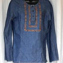 Dkny Jeans M Denim Shirt Tunic Blouse Photo