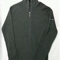 Dkny Jeans Men's Gray Cable Knit Zip Up Sweater 100% Cotton Medium Size Euc Photo
