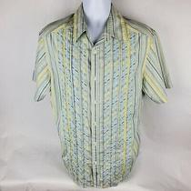 Dkny Jeans Mens Button Front Shirt Sz Xl Embroidered Blue Yellow Short Sleeve Photo