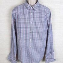 Dkny Jeans Mens Long Sleeve Button Front Dress Shirt Plaid Red White and Blue Photo