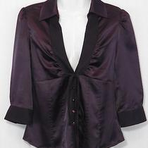 Dkny Jeans Name Brand Nwt Junior S Small Purple Fitted Bodice Button-Up Shirt Photo