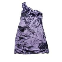 Dkny Jeans One Shoulder Purple & Black Dress Size 4 Uk M Photo