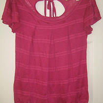 Dkny Jeans Shirt S Small Hot Pink Blouse Striped Top Key Hole Tie Top Beads Photo