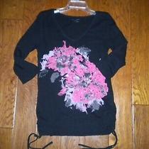 Dkny Jeans Size Medium Black Floral Beaded Cinched Women Shirt Top Photo