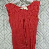 Dkny Jeans Top Size S Red Pull Over Round Neck Tie String Eyelet Elastic Casual Photo