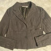 Dkny Jeans Womens Fitted Blazer Jacket Brown Size Xl Gold Striping Photo