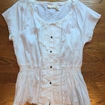 Dkny Jeans Women's White Short Sleeve Blouse Size Small Photo