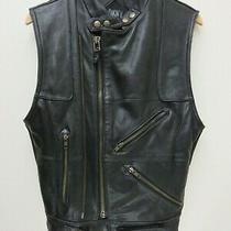 Dkny Ladies Genuine Black Heavy Leather Motorcycle Biker Vest Size S Please Read Photo