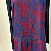 Dkny Ladies Pleated Dress Blue/wine Small  Preowned 856zh Photo