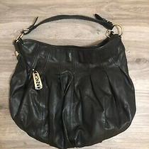 Dkny Leather Hobo Handbag Leather Black W Gold Hardware Photo