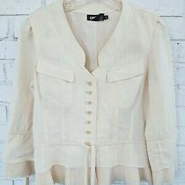 Dkny Linen Silk Beige Jacket Collarless Feminine Accent Bows and Pockets Size 6 Photo