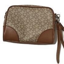 Dkny Logo Leather  Pouch Wrist Bag Clutch Purse Brown Tan Photo