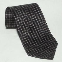 Dkny Men Dress Silk Tie Black Checkers Print 4