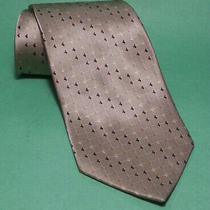 Dkny Men Dress Silk Tie  Light Beige With Print  4