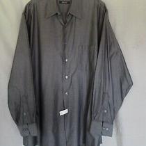 Dkny  Men's Dress Casual Shirt 17 34-35 Dark Gray Long Sleeves Button Up Photo
