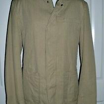 Dkny Men's Full Zip Casual Sport Coat Jacket 100% Cotton Tan Striped Size Medium Photo