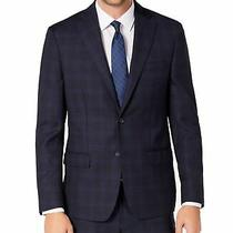 Dkny Mens Blazer Navy Blue Size 40 Plaid Printed Notched-Collar Wool 260 348 Photo