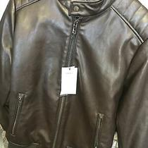 Dkny Mens Dark Brown Faux Leather Stand Collar Jacket Coat Size  M Retail 195 Photo