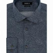 Dkny Mens Dress Shirt Blue Size 18 Slim Fit Textured Abstract Print 85 110 Photo
