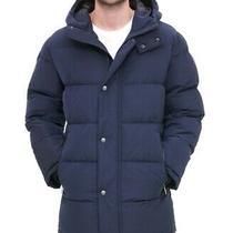 Dkny Mens Parka Jacket Navy Blue Size Large L Hooded Puffer Full-Zip 325 092 Photo