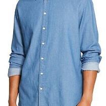 Dkny Mens Shirt Blue Size 2xl Indigo Twill Denim Long Sleeve Button Down 79 155 Photo