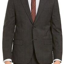 Dkny Mens Suit Jacket Charcoal Gray Size 40 Short Plaid 2-Button Blazer 525 088 Photo