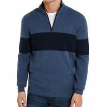Dkny Mens Sweater Blue Size 2xl 1/2 Zip Ribbed Stand Collar Stripe 89 039 Photo
