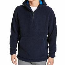Dkny Mens Sweater Navy Blazer Blue Size Medium M Sherpa Pullover Hooded 95 094 Photo