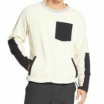 Dkny Mens Sweater White Ivory Size Large L Crewneck Fleece Colorblocked 89 105 Photo