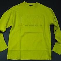 Dkny Mens Yellow Lime Designer Crewneck Sweater Size Medium Photo