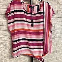 Dkny Misses Blouse Shirt Top Pink Black Side Tie Loose Xl New 59 M109 Photo