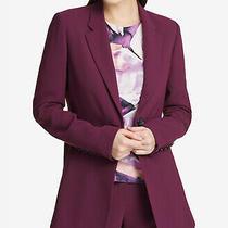 Dkny (My9-76) One-Button Seam-Front Jacket Blazer Purple Sz 4 129 Photo