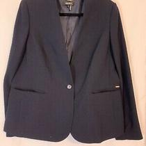 Dkny Navy Blazer One Button Front Pocketed Lined Size 14 Photo