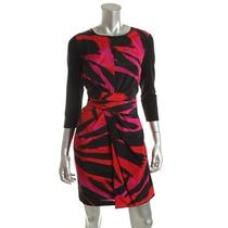 Dkny New Anna Red Silk Blend 3/4 Sleeves Knee-Length Wear to Work Dress 4 Nwt Photo
