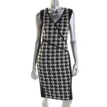 Dkny New Black Wool Blend Houndstooth Sleeveless Wear to Work Dress 6 Bhfo Photo
