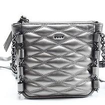 Dkny New Gray Pewter Silver Lara Small Quilted Crossbody Bag Purse 198 039 Photo