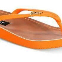 Dkny New Women's Madi Flip Flop W/gold Logo  - Orange Size 9 Photo