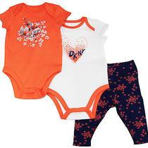 Dkny Newborn Girlls Multi Hearts Bodysuits 3pc Pant Set Sizes 0/3m 3/6m 6/9m Photo