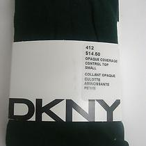 Dkny Opaque Coverage Control Top Tights Bottle /dark Green Size Small  Nwt Photo
