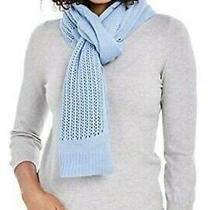 Dkny Open-Knit Blocked Scarf Blue One Size Photo