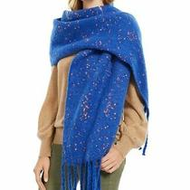 Dkny Oversized Blanket Speckled Women's Winter Scarf - Blue/orange Photo