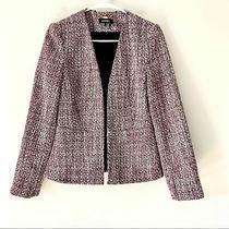 Dkny Pink Tweed Open Blazer Peplum Back Size 4 Photo