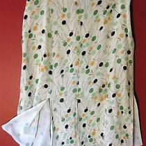 Dkny Polka Dot Silk Skirt Slits Panels 6 Ivory Green Brown Print Flirty Dressy S Photo