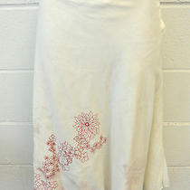 Dkny Pure Ivory and Red Floral Skirt Size 8 Photo