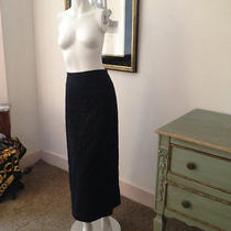 Dkny Pure Long Black Skirt With Chevron Stitching Photo