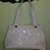 Dkny Quilted Logo Ivory White Handbag Large Satchel Tote Shoulder Bag Like New Photo