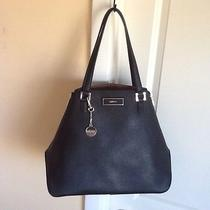 Dkny Saffiano Leather Black Tote With Zippers Nwt 295.00 Photo