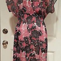 Dkny Sheer Floral Print Kimono Sleeve Sun Dress Size 8  Photo