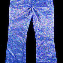 Dkny Silver Gunmetal Metallic Flare Pants Rare & Unique Size 7 Waist 30 150.00 Photo