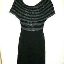 Dkny Size Medium Stylish Extra Large Cowl Neck Gray whisper& Black Sweater Dress Photo